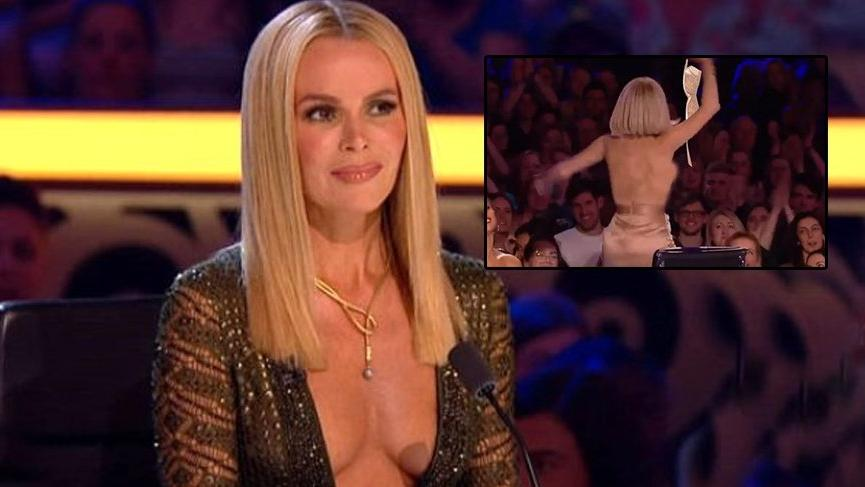 British singer Amanda Holden shows her breast again during competition 2