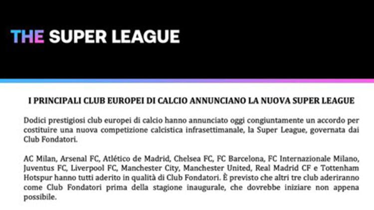 The European Super League was officially established war broke out UEFA ban decision move 1