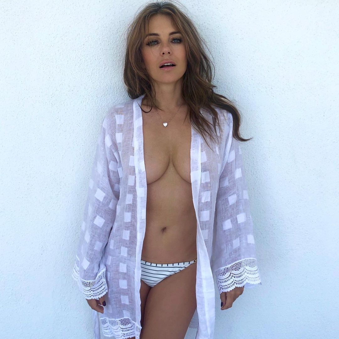 56 year old Elizabeth Hurley surprised her followers with her braless bikini photo