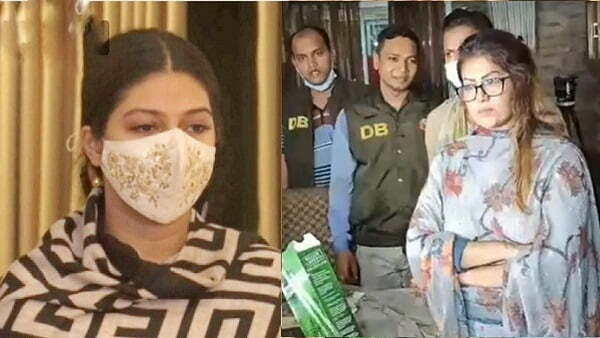 Models Faria Mahbub Piyasha and Mou Akter detained for foreign liquor 1