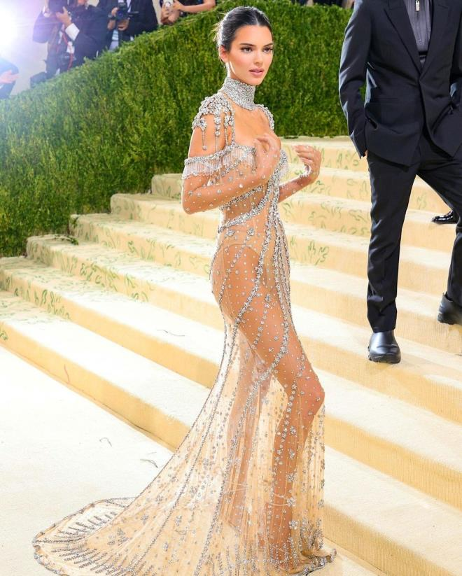 Hip Detail of Kendall Jenners Dress at MET Gala 1
